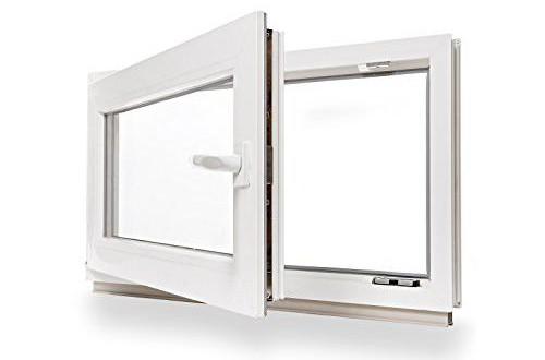 wei/ß Fenster Kellerfenster DIN rechts Lagerware 3-fach-Verglasung Kunststoff BxH: 85 x 40 cm