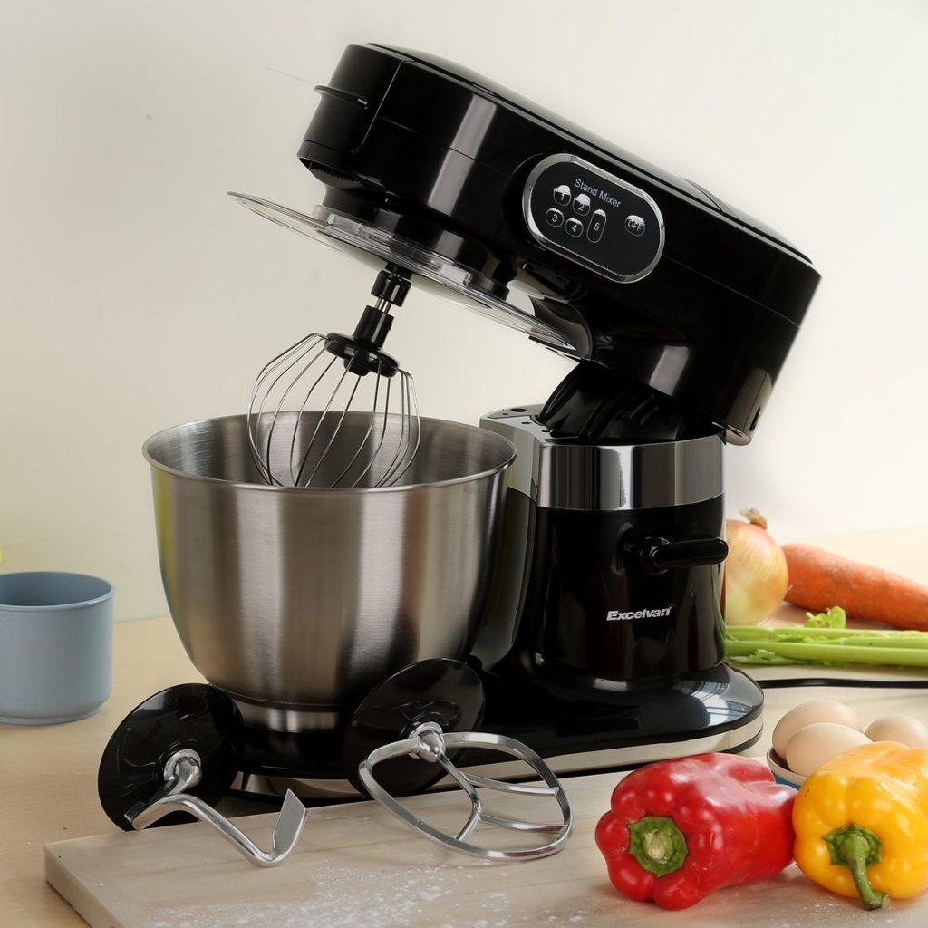 Sehr ruhige, leistungsstarke Küchen-/Knetmaschine mit 1000 Watt - Schnellspannsystem mit einem Knethaken, einem Rührhaken und einem Schneebesen