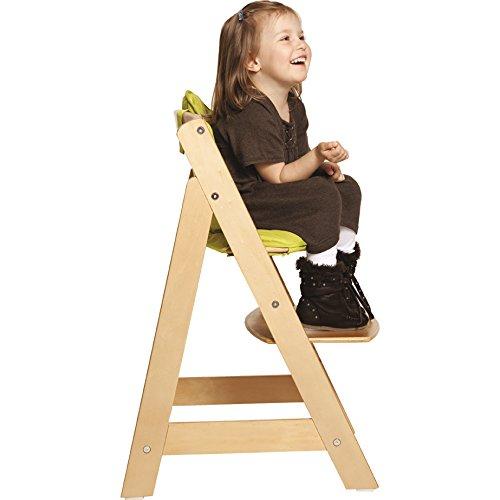 Roba Hochstuhl aus Holz mit hoher Kippsicherheit durch spezielle Konstruktion. Abnehmbarer Sicherheitsbügel und Gurtsystem bieten zusätzlichen Schutz