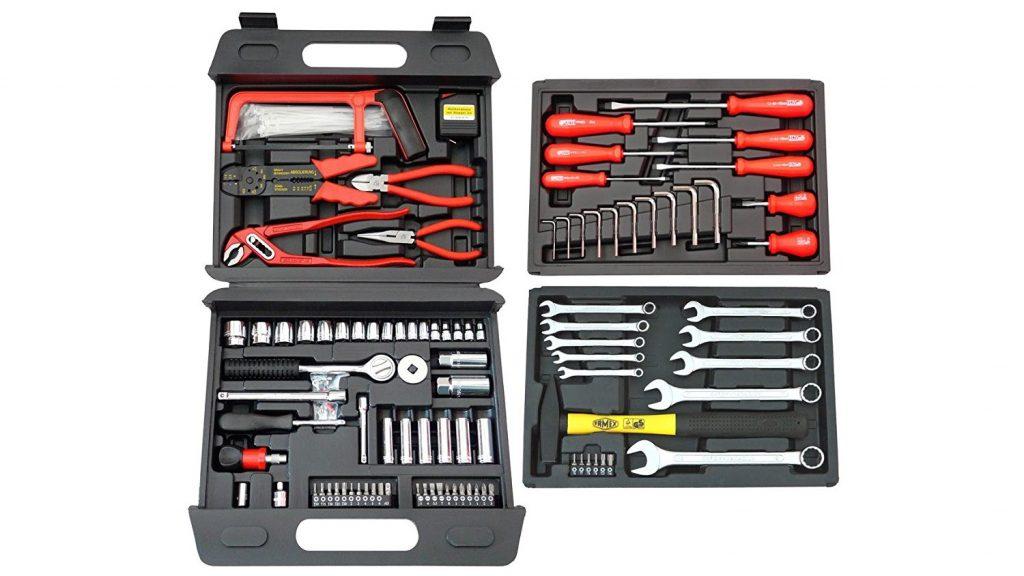 Famex Universal Werkzeugkoffer - Werkzeugkoffer mit 2 herausnehmbaren Koffereinsätzen und reichhaltiger Universal-Werkzeugbestückung