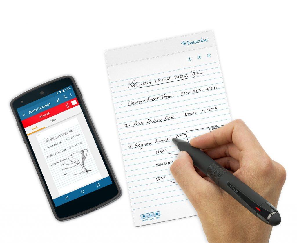 Livescribe Smartpen - ässt sich per Bluetooth Smart (Low Energy) mit Ihren iOS- und Android-Geräten verbinden und synchronisiert Texte und Zeichnungen mit der kostenlosen Livescribe+ App.