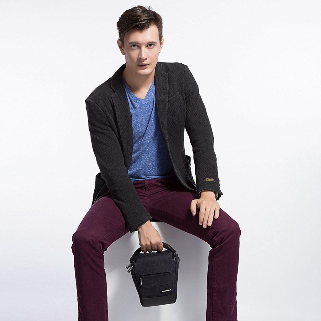 Bagsmart SLR-Kameratasche: Die Fototasche bietet Stauraum für Spiegelreflexkamera, Objektive. Platz für Speicherkarten, Ersatzakku, Kabel durch die Vordertasche und 2 kleine Taschen mit Klettverschluss im Deckel