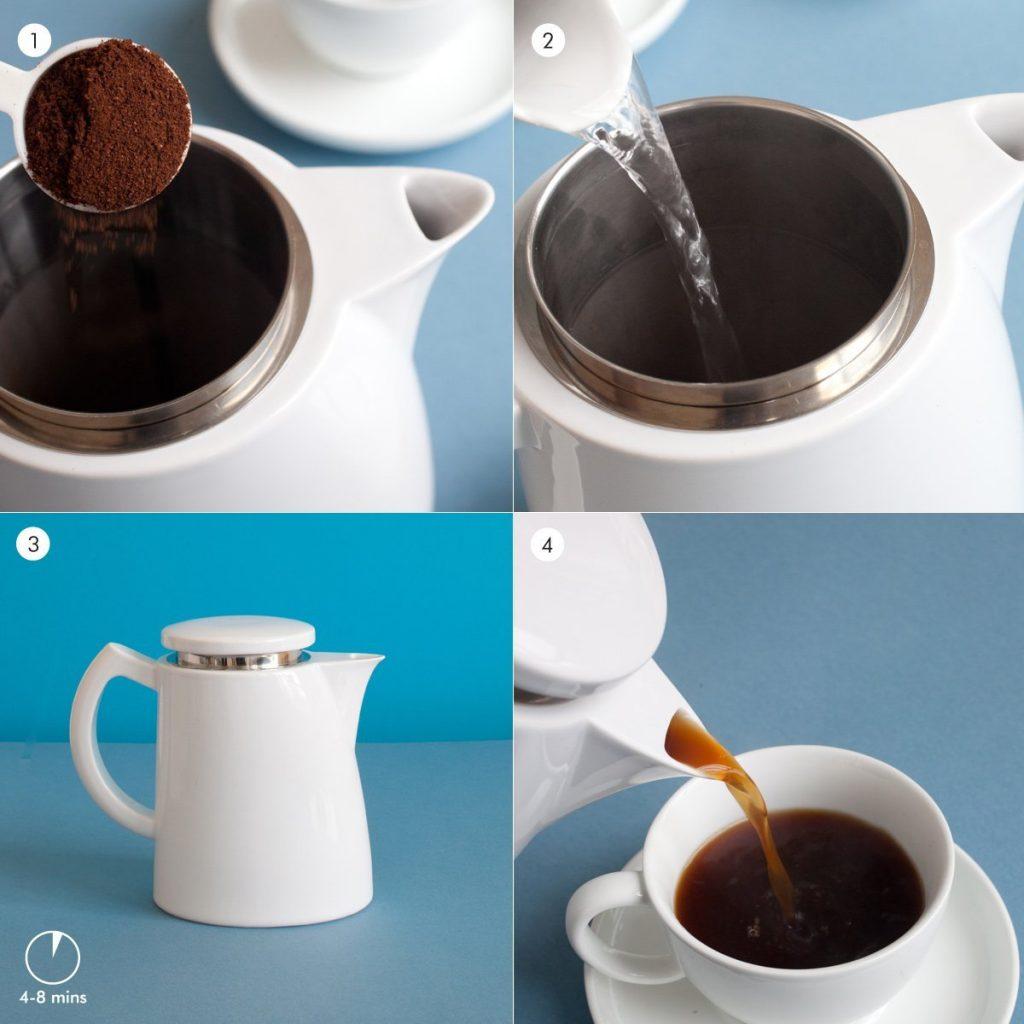Sowden S001 Kaffeekanne Oskar mit Mikro Edelstahlfilter und Kaffeemesslöffel